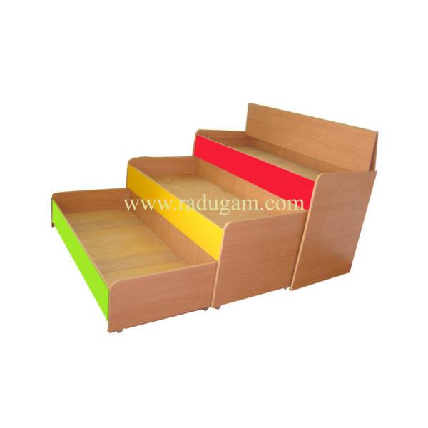 Кровать 3-х ярусная выкатная с крышкой,  ЛДСП, бук / цветная 1478*660*810