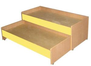 Кровать 2-х ярусная выкатная, ЛДСП, бук / цветная 1430*660*550