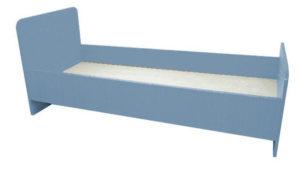 Кровать 1-но ярусная, ЛДСП бук / цветная 1432/1232*600*650