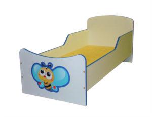 Кровать «Пчелка» с бортиком, ЛДСП, бук / цветная 430/1230*630*600