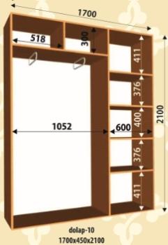 Шкаф купе 1700х450х2100мм