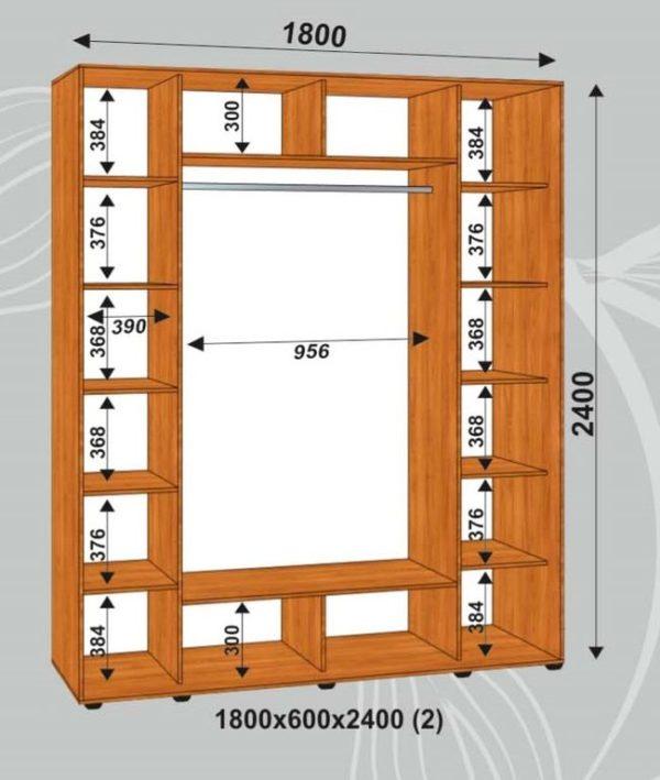 Шкаф купе 1800х600х2400мм (2)