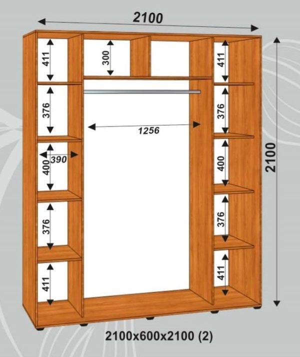 Шкаф купе 2100х600х2100мм (2)