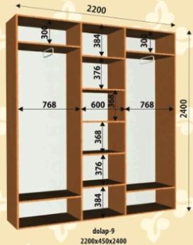 Шкаф купе 2200х450х2400мм
