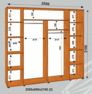 Шкаф купе 2500х600х2100мм  (2)