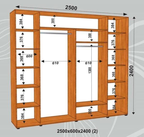 Шкаф купе 2500х600х2400мм  (2)