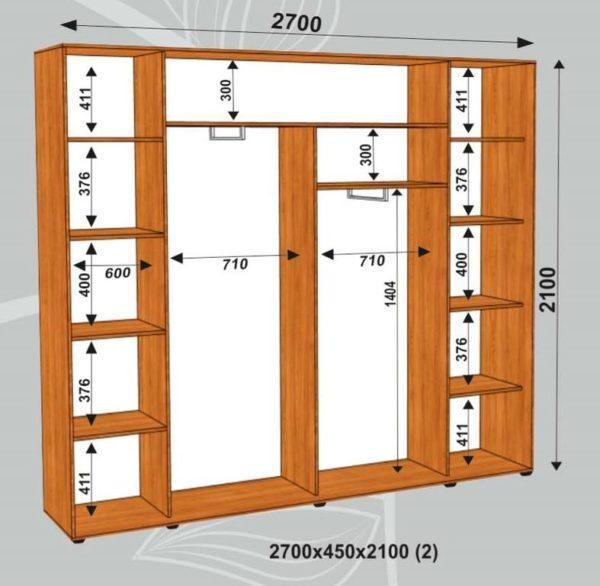 Шкаф купе 2700х450х2100мм (2)