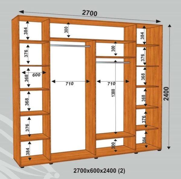 Шкаф купе 2700х450х2400мм (2)
