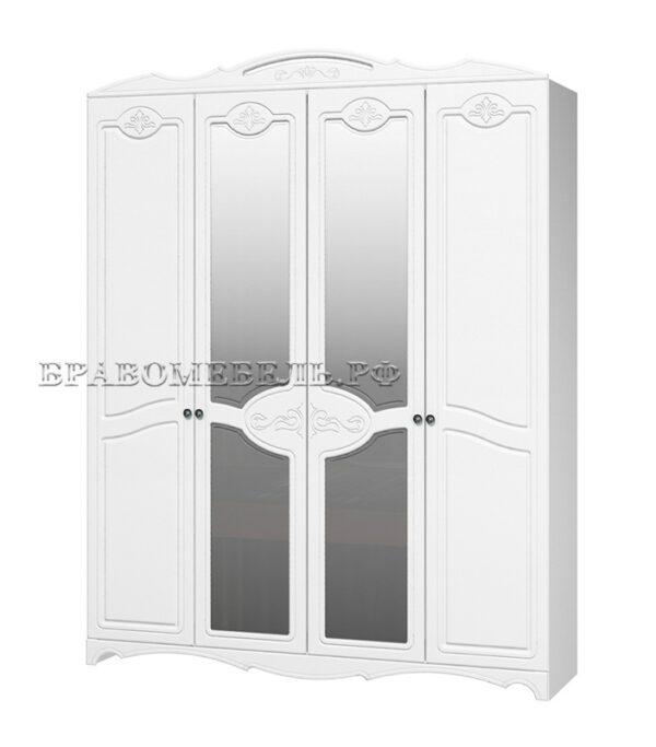 Шкаф распашной 4-х дверный Лотос белый
