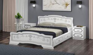 """Кровать """"Карина 6"""" белый жемчуг, с ящиками"""