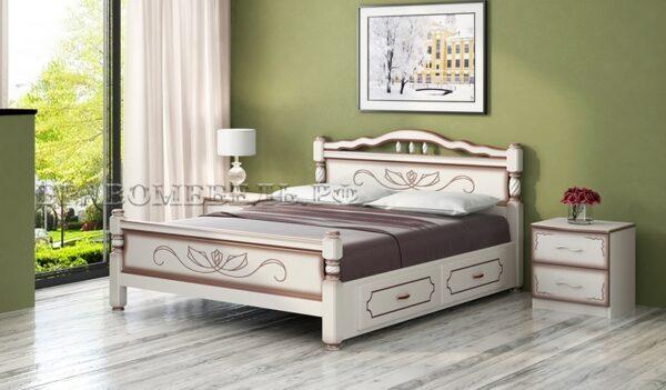 """Кровать """"Карина 5"""" дуб молочный, с ящиками"""