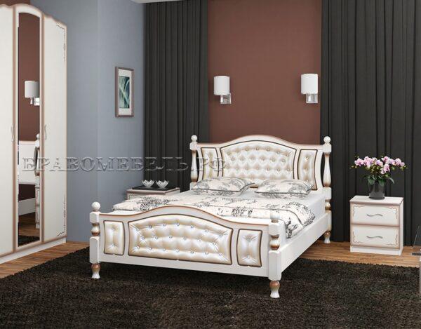 """Кровать """"Жасмин"""" дуб молочный, светлая экокожа"""